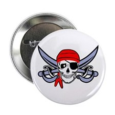"Pirate - Skull with Crossed Swords 2.25"" Button"