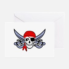 Pirate - Skull with Crossed Swords Greeting Cards