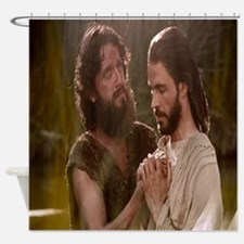 John the Baptist baptizing Jesus Shower Curtain