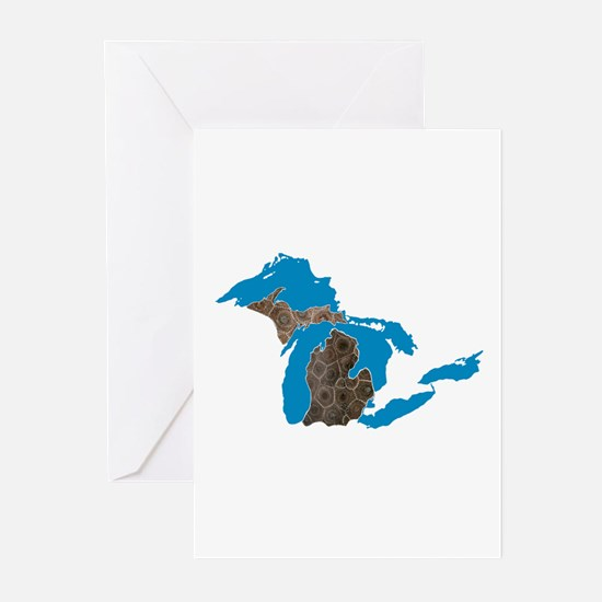 Great lakes Michigan petoskey stone Greeting Cards