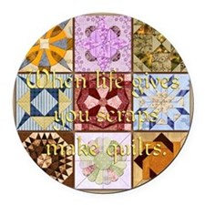 Harvest Moons Quilts Round Car Magnet