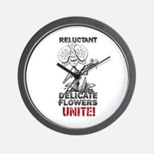 Reluctant Delicate Flowers Unite! (red) Wall Clock