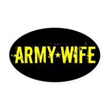 Army Wife: Black and Gold Oval Car Magnet