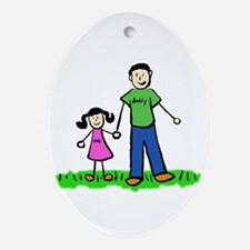 Father and Daughter (Black Hair) Ornament (Oval)