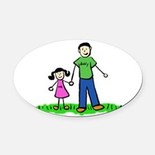 Father and Daughter (Black Hair) Oval Car Magnet