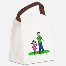 Father and Daughter (Black Hair) Canvas Lunch Bag