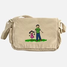 Father and Daughter (Black Hair) Messenger Bag