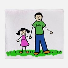Father and Daughter (Black Hair) Throw Blanket