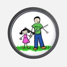 Father and Daughter (Black Hair) Wall Clock