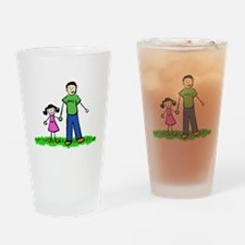 Father and Daughter (Black Hair) Drinking Glass