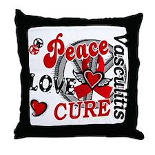 Vasculitis Peace Love Cure 2 Throw Pillow
