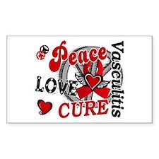 Vasculitis Peace Love Cure 2 Decal