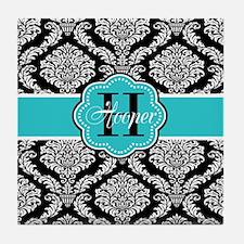Black Teal Damask Personalized Tile Coaster