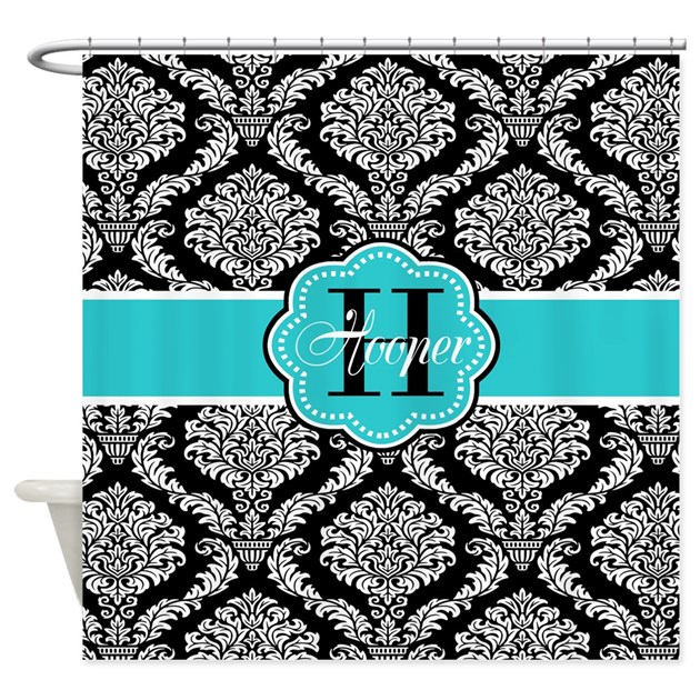 Black Teal Damask Personalized Shower Curtain By CupcakesandSprinklesBirthday