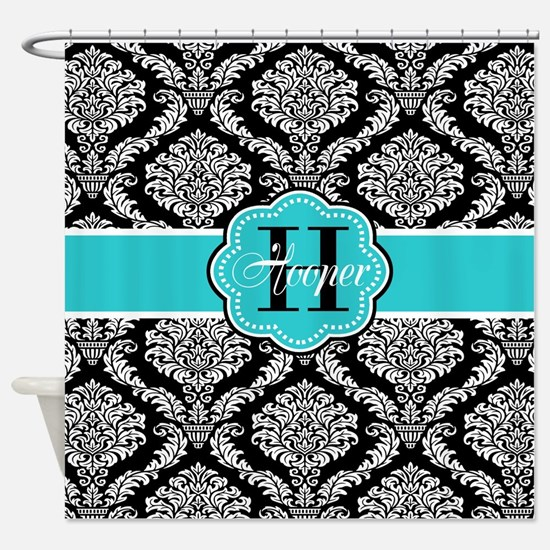 Black Teal Damask Personalized Shower Curtain