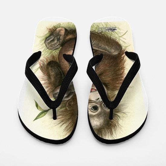 Orangutan Baby With Leaves Flip Flops