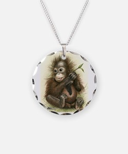 Orangutan Baby With Leaves Necklace