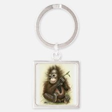 Orangutan Baby With Leaves Keychains