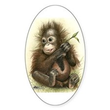 Orangutan Baby With Leaves Decal