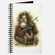 Orangutan Baby With Leaves Journal