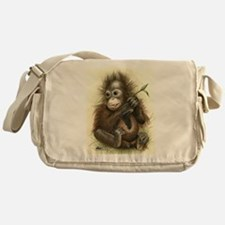 Orangutan Baby With Leaves Messenger Bag