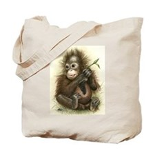 Orangutan Baby With Leaves Tote Bag
