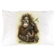 Orangutan Baby With Leaves Pillow Case