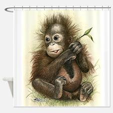 Orangutan Baby With Leaves Shower Curtain