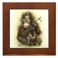 Orangutan Baby With Leaves Framed Tile