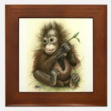 Orangutan Baby With Leaves Framed Tile