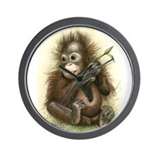 Orangutan Baby With Leaves Wall Clock