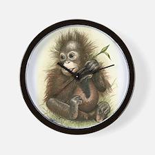 Orangutan Baby With Leaves Wall Clock