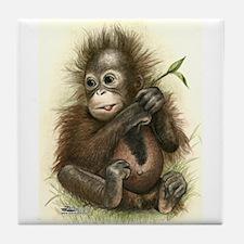 Orangutan Baby With Leaves Tile Coaster