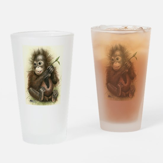 Orangutan Baby With Leaves Drinking Glass