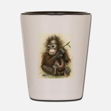 Orangutan Baby With Leaves Shot Glass