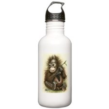 Orangutan Baby With Leaves Water Bottle
