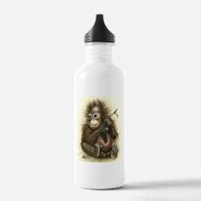 Orangutan Baby With Leaves Water Bottle