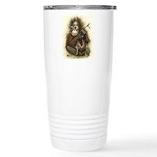Orangutan Baby With Leaves Travel Mug