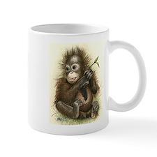 Orangutan Baby With Leaves Mugs