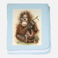 Orangutan Baby With Leaves baby blanket