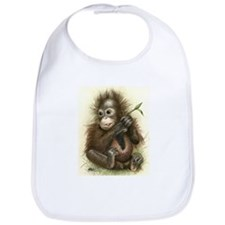 Orangutan Baby With Leaves Bib