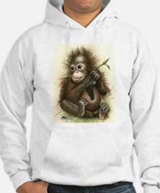 Orangutan Baby With Leaves Hoodie Sweatshirt