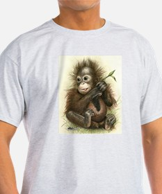 Orangutan Baby With Leaves T-Shirt