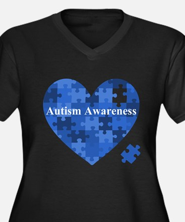 Autism Awareness Heart Plus Size T-Shirt