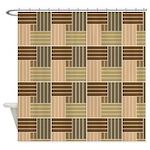 Brown Line Pattern Shower Curtains