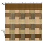 Brown Abstract Line Pattern Shower Curtains