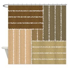 Brown Swirl Line Design Pattern Shower Curtain