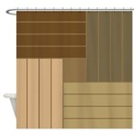 Brown Tone Line Shower Curtains