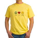 Peace.Love.Braces Yellow T-Shirt