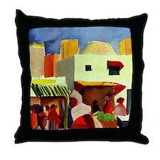 Macke - Market in Algiers Throw Pillow
